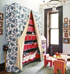 Effective playroom storage, seen and unseen