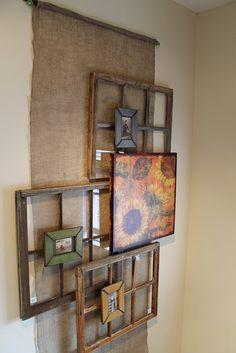 old window frames, wall decor, glass doors, idea, old windows, hous, frame art, picture frames, drawer pulls