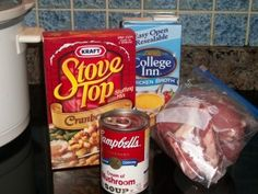 .  1 Box Stuffing  1 cup of Chicken Broth  1 can  cream of mushroom soup  4+ porkchops  How to make it :  Mix 1 cup of chicken stock and your stuffing in your crock pot. Place pork chops on top of stuffing. Pour soup over pork chops. Cook 4 hrs on high or 6-7 hours on low