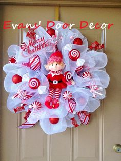 Christmas Deco Mesh Wreath- Peppermint