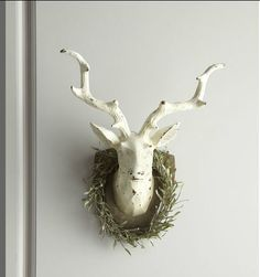 Deer Head with Rosemary Wreath from Horchow