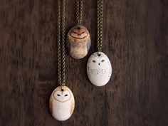 Little Owl Necklace-  Earthenware ceramic owl totem necklace by HandyMaiden on Etsy