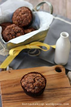 healthy double chocolate breakfast muffins