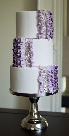 Wedding cake cake wedding, wedding ideas, cake ruffl, ruffle cake, cake designs, purple cakes, white wedding cakes, bridal cakes, purple wedding cakes