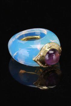 Blue Topaz Ring With 14k Yellow Gold, Diamond & Amethyst