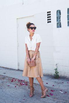 Tan a-line skirt.