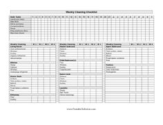 This very detailed cleaning list covers a week's worth typical chores, organized by rooms in the house. Free to download and print