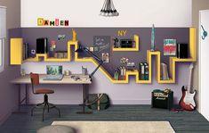 superhero shelves interior design, quarto, kid bedrooms, shelves, boy rooms, kid rooms, city skylines, french design, home offices