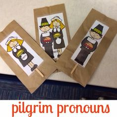 Speak Listen Play: Pilgrim Pronouns. Pinned by SOS Inc. Resources. Follow all our boards at pinterest.com/sostherapy for therapy resources.