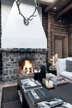 modern log cabin. modern Cave.