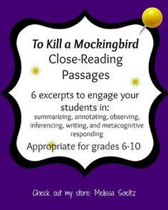 To Kill a Mockingbird CLOSE READING PASSAGES