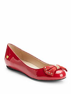 Love Moschino - Patent Leather Bow Ballet Flats