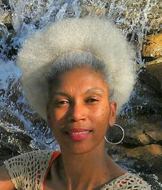 I adore her natural, white afro!