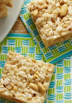 Salted-Nut-Roll RICE KRISPIES TREATS – mix some salty with the sweet in these scrumptious Salted-Nut-Roll RICE KRISPIES TREATS made with PLANTERS COCKTAIL Peanuts.