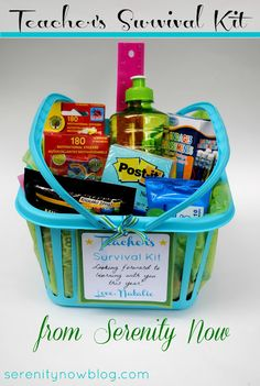 auction baskets, gift baskets, teacher gifts, teacher gift basket ideas, gift ideas, teacher survival kit gift, teacher basket, survival kit gifts, back to school