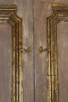 Pair of French Painted & Parcel Gilt Doors C. 1940s image 4