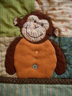 """""""Thoughtful Monkey"""" Quilt - monkey by PatchworkPottery, via Flickr"""