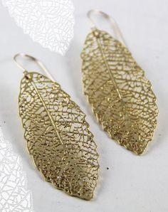 rose Gold Leaf earrings 24 karat rose gold plated
