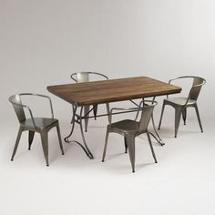 Jackson Rectangular Table with Metal Base and Chairs