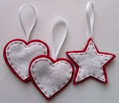 Stars & Hearts Felt Ornaments - Looks great and is easy to make. #tutorial #Christmas #craft holiday, felt decorations, hand sewing, felt crafts, star, felt ornaments, felt christmas ornaments, ornament howto, kid