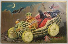 Vintage Halloween Cards | pumpkin-driving-a-witch-vintage-halloween-card