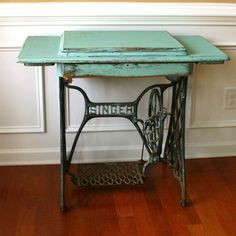 Vintage Turquoise Entryway Table Desk. Singer Treadle Sewing Machine. The blue color is my favorite!