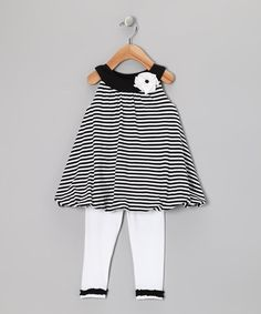 Take a look at this Black & White Stripe Bubble Tunic & Leggings - Infant by Abs Essentials on #zulily today!