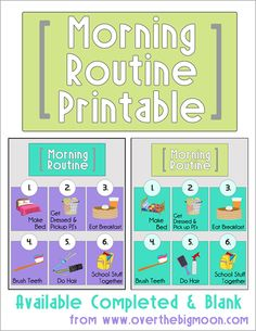 Morning Routine Printables - Available Completed or Blank to download!  Help your little one keep on track in the mornings before school!  Head over to www.overthebigmoon.com to download your free printable now!  #morningroutine