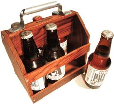 Wooden Six Pack Beer Holder - perfect for the rustic man cave