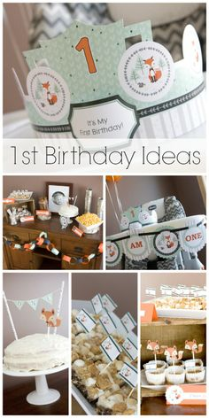 Cute fox 1st birthday party ideas, perfect for a boy birthday! See more party ideas at CatchMyParty.com. #fox fox parti, fox birthday party, birthday parties, birthday idea, paper straws, first birthdays, boy birthday, 1st birthdays, birthday fox
