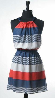 Red & blue dress