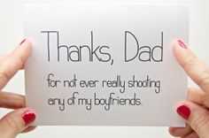 Funny Fathers Day Card  Dad Birthday Thanks Dad for Not Ever Really Shooting Any of My Boyfriends by CheekyKumquat, $3.75