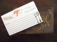 Imprimible de tarjeta para escribir recetas en ella, y para enviar como regalo con una pequeña muestra :)