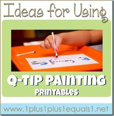 Ideas for using Q-Tip Painting printables from @{1plus1plus1} Carisa