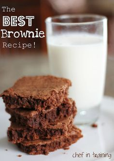 BEST BROWNIE RECIPE    1 cup butter  2 cups sugar  4 eggs  1-1/2 tsp. vanilla  1/2 cup cocoa  1-1/3 cups flour  1/2 tsp. salt    Cream butter and sugar together.  Add eggs and blend well  Add vanilla, salt, cocoa and flour.  Don't overbeat.  Pour into a greased 9X13 pan.  Bake at 350 F for 20-25 minutes.