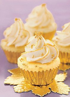 Vanilla Cupcakes with Edible Gold Leaf.