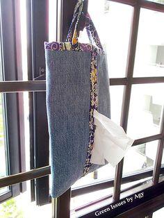 Denim Tissue Holder Made From Repurposed Jeans