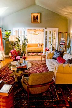I like everything about this room...boho, traditional, but not stuffy, natural elements, colour, comfort, lovely and tasteful without looking over designed.