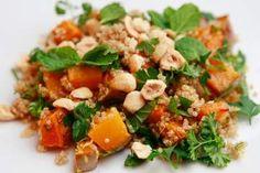 Quinoa salad with crispy roast pumpkin and hazelnuts