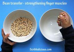 Preschool bean transfer activity