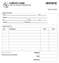 free plumbing invoice template  The 15 best Free Plumbing Invoice Templates images on Pinterest ...