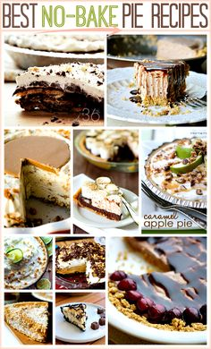 15 Delicious No-Bake Pie Recipe just in time for THANKSGIVING ...So yummy! #recipes #pie #dessert