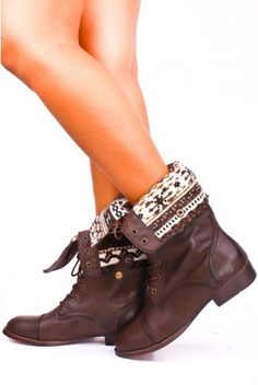 BROWN FAUX LEATHER LACE UP FOLD OVER COMBAT BOOTS $28.99