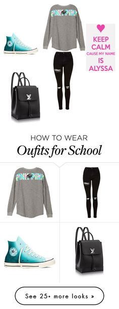 """School"" by alyssaandilovewwe on Polyvore featuring Topshop and Converse"