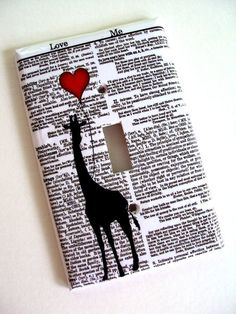 Love Me Giraffe Red Balloon Switchplate Cover
