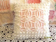 Plush Lush Pink and White Vintage Chenille Bedspread Patchwork Throw Pillow Gift. via Etsy.
