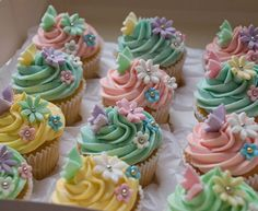 Such splendidly pretty pastel hued cupcakes. #flowers #cupcakes #food #dessert #pastel #Easter #spring #wedding #garden #tea #party #pink #mint #green #yellow
