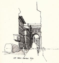"""Via degli Strozzi, ink pen drawing. Not sure whether to pin under """"places I've been"""" or """"graphics"""" :P"""
