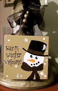Min Custom Snowman Winter Valentine Canvas Sign. $15 via Etsy.