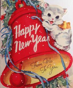 1950s Happy New Year card cat
